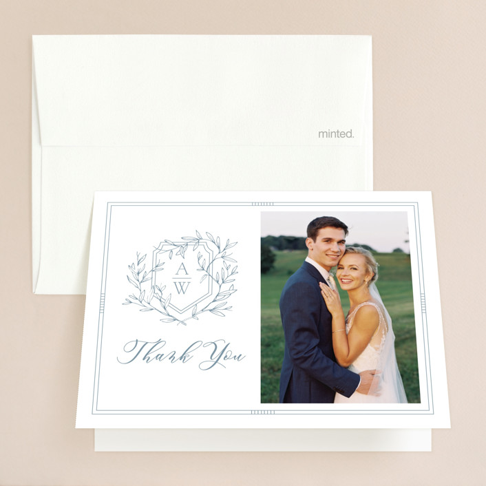 """""""Love Beyond Measure"""" - Folded Thank You Card in Mineral by Oscar & Emma."""