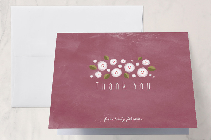 """Plum Flowers"" - Vintage, Floral & Botanical Thank You Cards in Plum by Four Wet Feet Studio."
