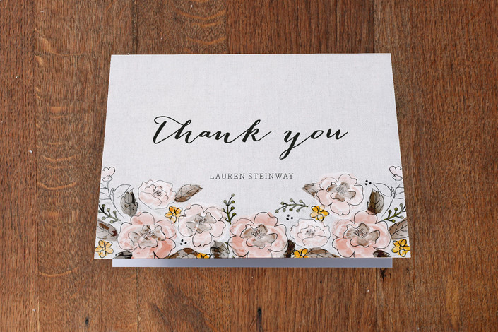 """Garden Rose"" - Floral & Botanical Thank You Cards in Buttercup by Coco and Ellie Design."