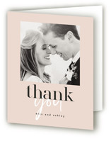 This is a pink wedding thank you card by Angela Garrick called Loved with standard printing on strathmore in standard.