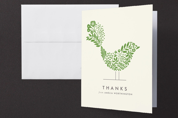 """""""Floral Fringe"""" - Floral & Botanical, Modern Thank You Cards in Ivy by Griffinbell Paper Co.."""
