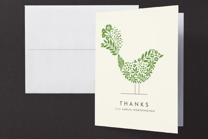 """Floral Fringe"" - Floral & Botanical, Modern Folded Thank You Card in Ivy by Griffinbell Paper Co.."