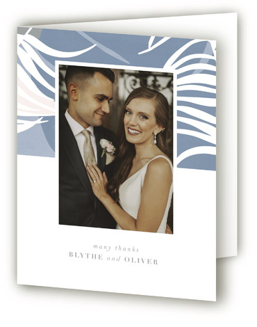 This is a botanical, blue Wedding Thank You Cards by Angela Marzuki called Acapulco with Standard printing on Standard Cover in Card fold over (blank inside) format. Hand drawn tropical elements form a slightly abstract backdrop for the wedding details ...