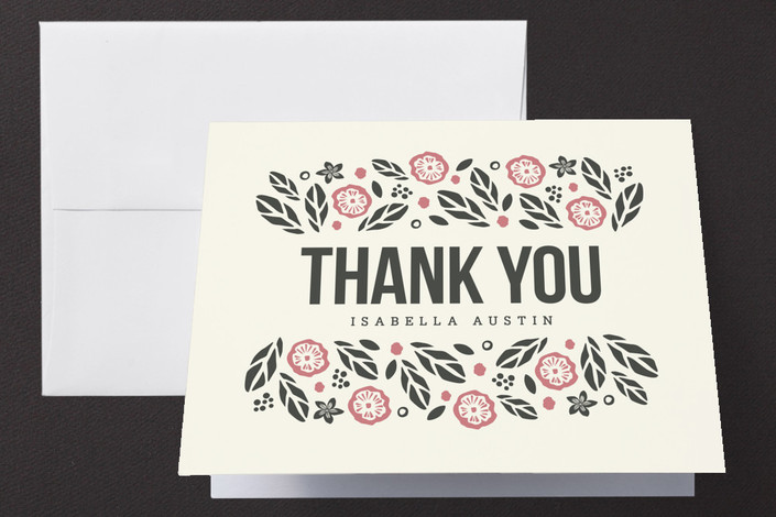 """""""Bold Botanicals"""" - Vintage, Floral & Botanical Thank You Cards in Pink by Griffinbell Paper Co.."""