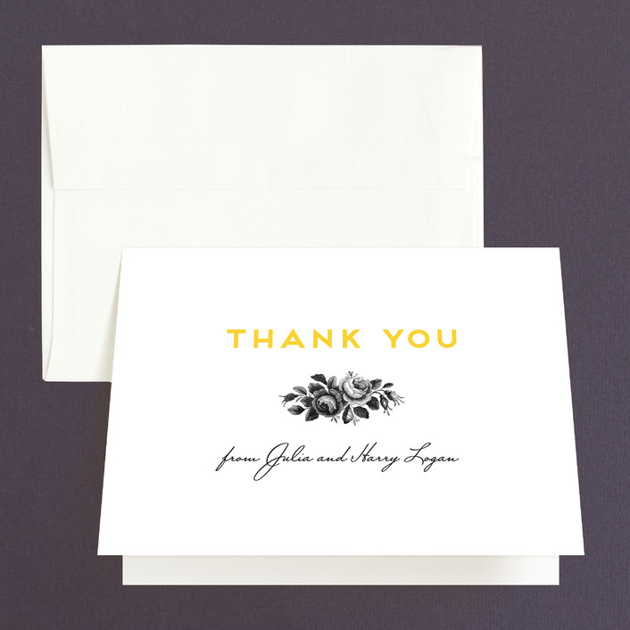 """""""Bouquet Monogram"""" - Thank You Cards in Sunflower by Chryssi Tsoupanarias."""