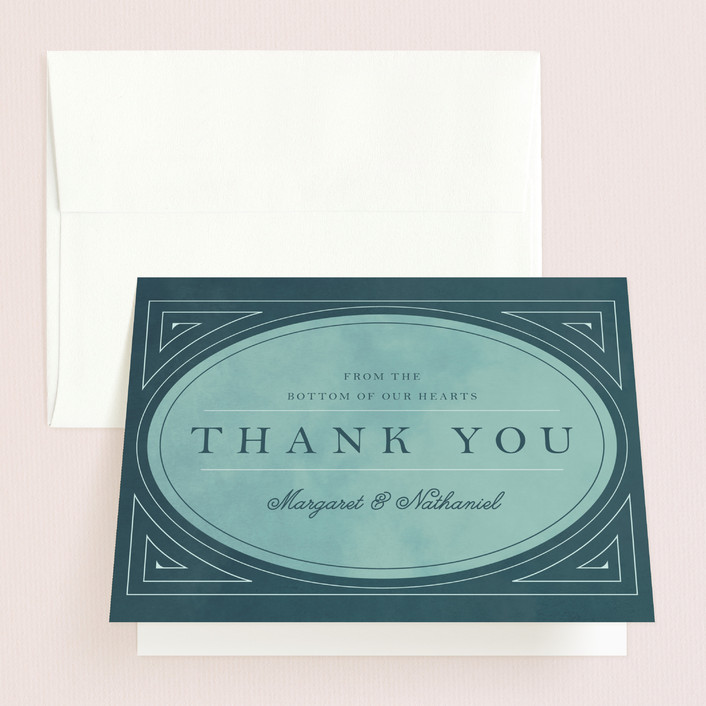 """""""Buchanan"""" - Vintage Thank You Cards in Peacock by Keen Peachy."""