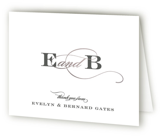 This is a landscape bold and typographic, classic and formal, simple and minimalist, black and white, silver Wedding Thank You Cards by Sara Hicks Malone called Dashing with Standard printing on Standard Cover in Card fold over (blank inside) format. ...