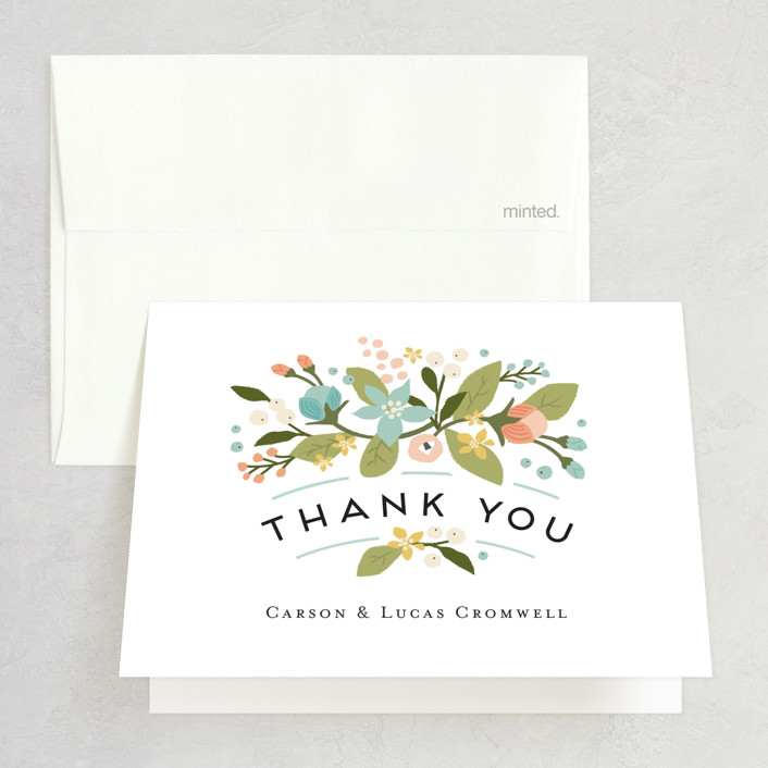 """Floral Ampersand"" - Rustic Thank You Cards in Sea Breeze by Jennifer Wick."