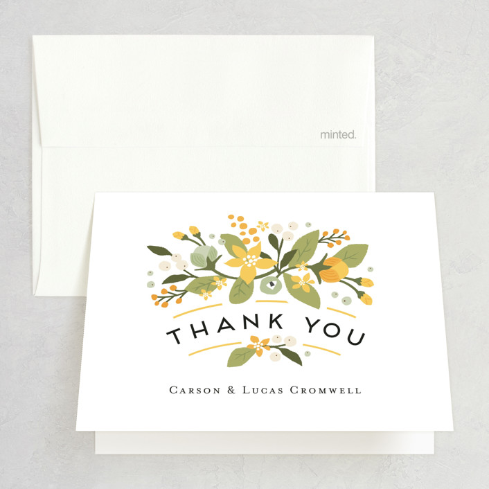 """Floral Ampersand"" - Rustic Folded Thank You Card in Sea Breeze by Jennifer Wick."