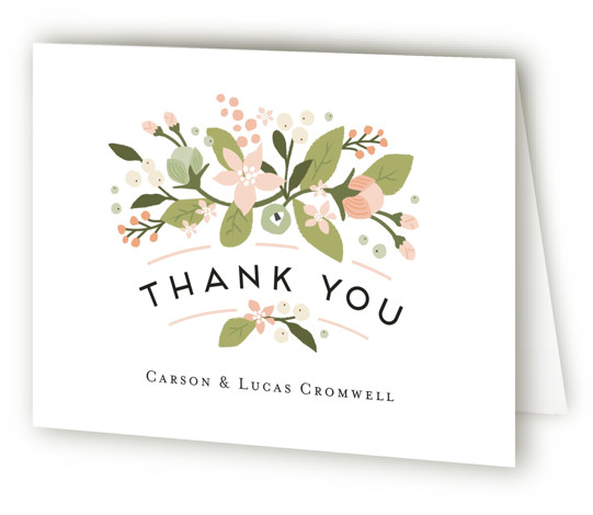 This is a landscape botanical, rustic, pink Wedding Thank You Cards by Jennifer Wick called Floral Ampersand with Standard printing on Standard Cover in Card fold over (blank inside) format. Darling peonies flowing from an ampersand along with beautifully designed ...