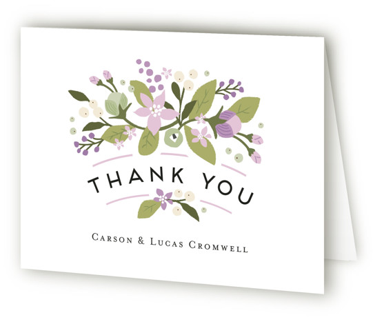 This is a landscape botanical, rustic, purple Wedding Thank You Cards by Jennifer Wick called Floral Ampersand with Standard printing on Standard Cover in Card fold over (blank inside) format. Darling peonies flowing from an ampersand along with beautifully designed ...