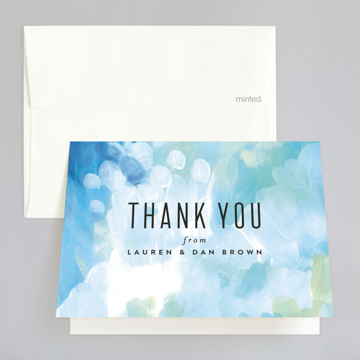 """Gallery Abstract Art"" - Bohemian Thank You Cards in Ocean by Alethea and Ruth."