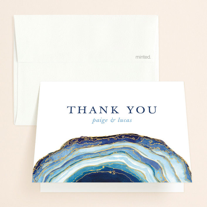 """""""Gilt Agate"""" - Bohemian Folded Thank You Card in Navy by Kaydi Bishop."""