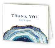 This is a blue wedding thank you card by Kaydi Bishop called Gilt Agate with standard printing on strathmore in standard.
