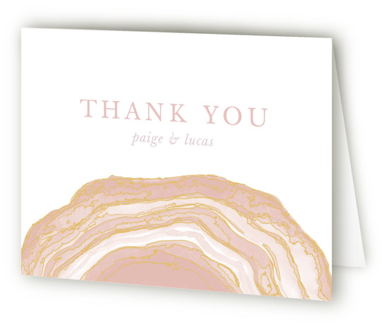 This is a landscape bohemian, rustic, pink Wedding Thank You Cards by Kaydi Bishop called Gilt Agate with Standard printing on Standard Cover in Card fold over (blank inside) format. A classic watercolor take on chic geodes with gold foil ...