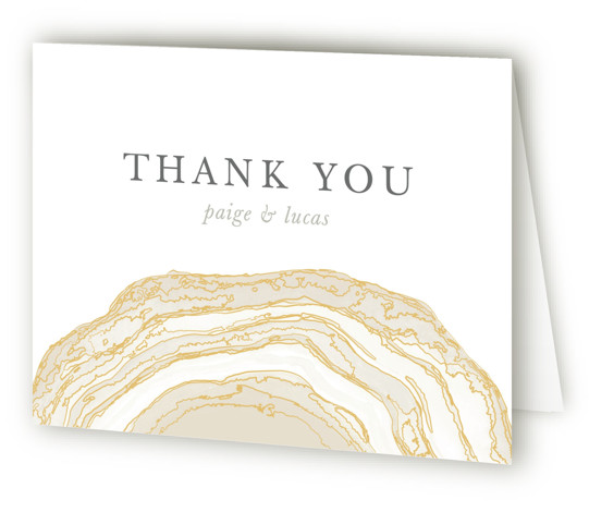This is a landscape bohemian, rustic, beige Wedding Thank You Cards by Kaydi Bishop called Gilt Agate with Standard printing on Standard Cover in Card fold over (blank inside) format. A classic watercolor take on chic geodes with gold foil ...