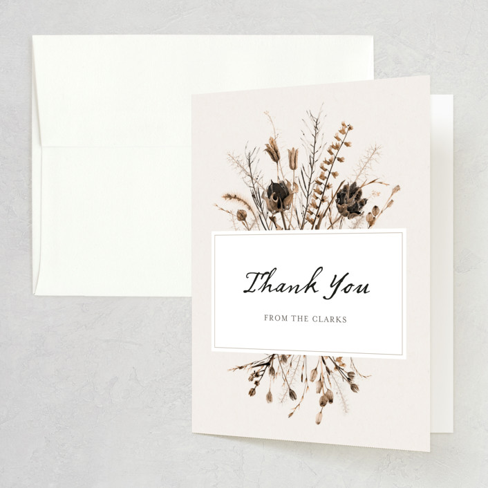 """""""Gone To Seed"""" - Bohemian Folded Thank You Card in Taupe by Honeybunch Studio."""