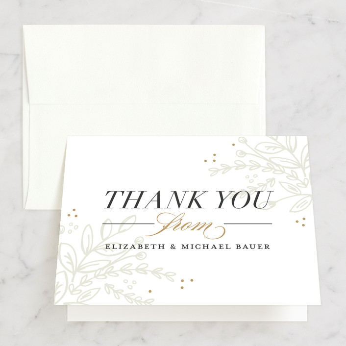 """Graceful"" - Rustic Thank You Cards in Taupe by Jessica Williams."