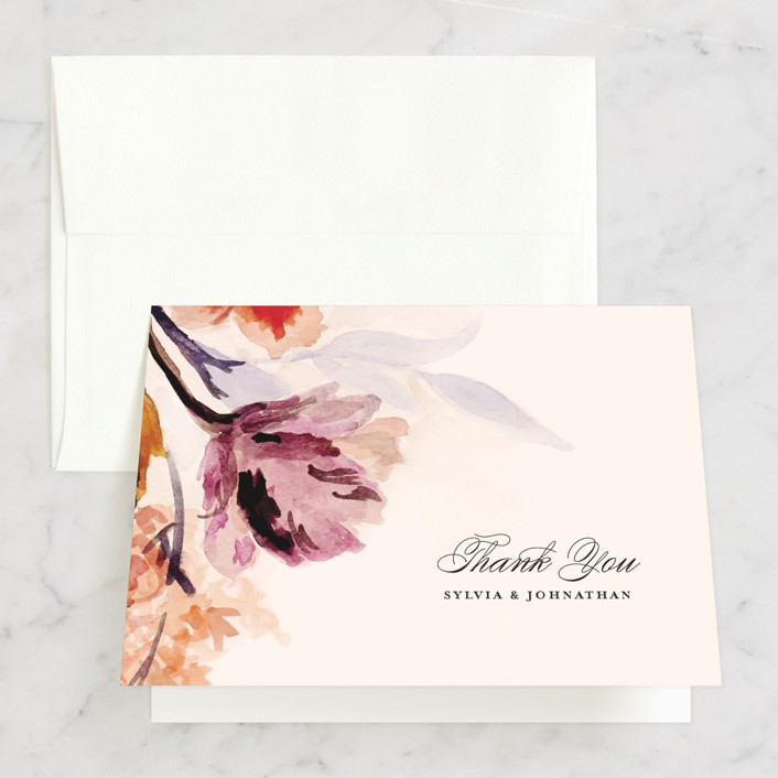 """Grecian Floral"" - Thank You Cards in Tulip by Olivia Kanaley."