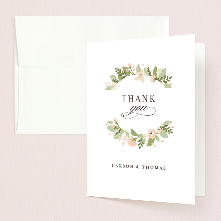 """Longwood Estates"" - Thank You Cards in Peach Sorbet by Jennifer Wick."