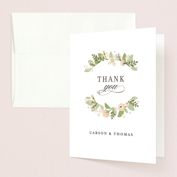 """""""Longwood Estates"""" - Folded Thank You Card in Peach Sorbet by Jennifer Wick."""