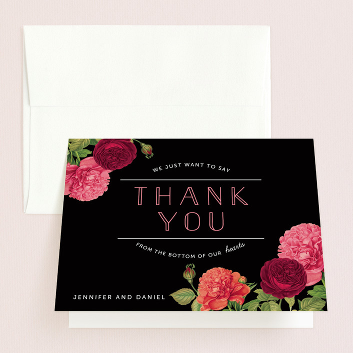 """Romantic Botanic"" - Thank You Cards in Noir by Penelope Poppy."