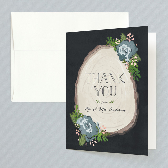 """""""Rustic Wooded Romance"""" - Rustic Thank You Cards in Bluebell by Pistols."""