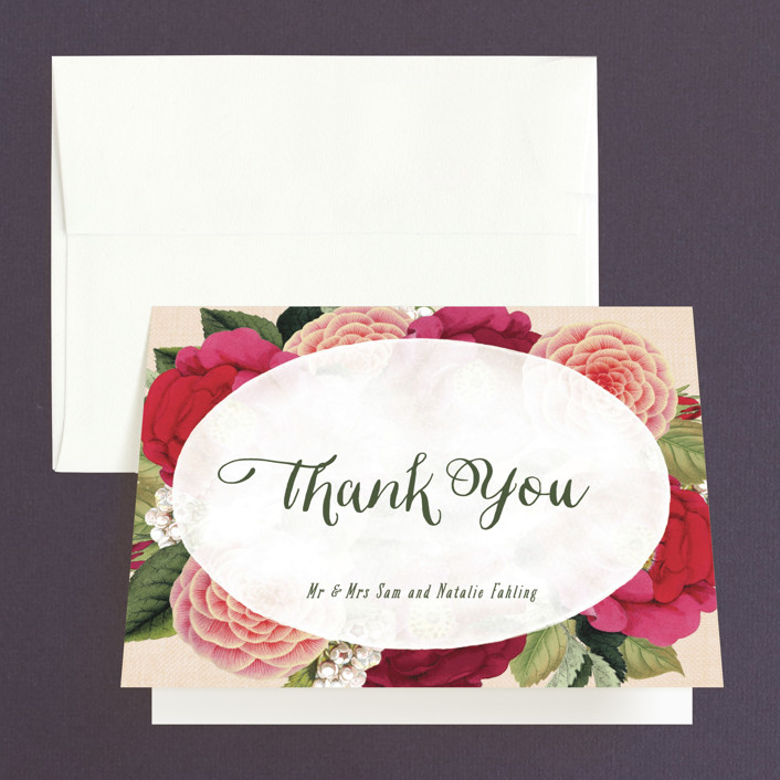 """""""Vintage Botanicals"""" - Thank You Cards in Soft Peach by Hooray Creative."""
