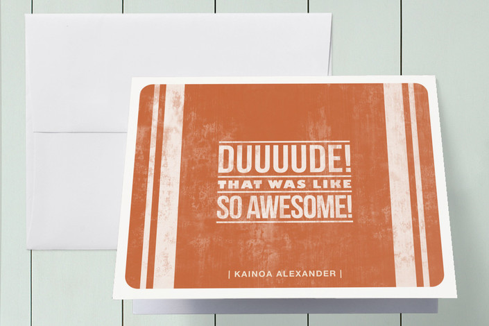"""Duuude!"" - Modern, Preppy Thank You Cards in Sunset by Guess What Design Studio."