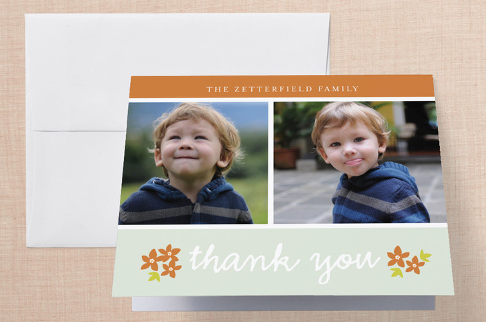 """Simple Greetings"" - Vintage, Classical Thank You Cards in Green by Snow and Ivy."