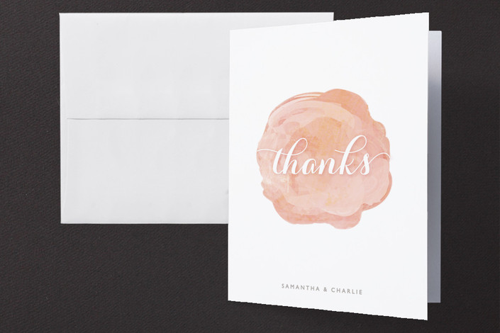 """""""Modern Bloom"""" - Whimsical & Funny, Modern Thank You Cards in Peach Blossom by Hooray Creative."""
