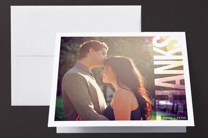 """Picture Perfect"" - Modern, Bold typographic Thank You Cards in White by Hooray Creative."