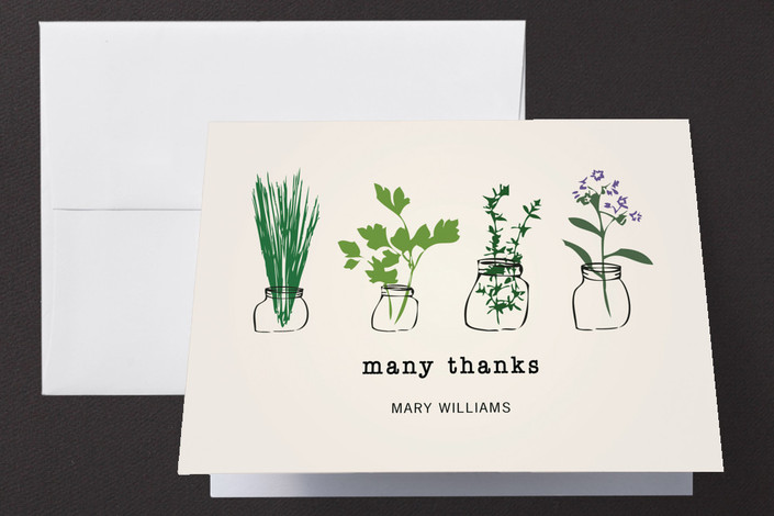 """Thank You Herbs"" - Floral & Botanical, Vintage Thank You Cards in Black by fox bear designs."