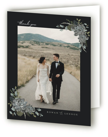This is a botanical, painterly, black, green Wedding Thank You Cards by Susan Moyal called Echeveria with Standard printing on Standard Cover in Card fold over (blank inside) format. This wedding invitation features some blue rose succulents and greenery
