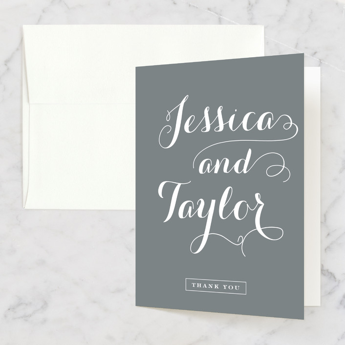 """Just Lovely"" - Classical, Simple Thank You Cards in Grey Chalkboard by Sara Hicks Malone."