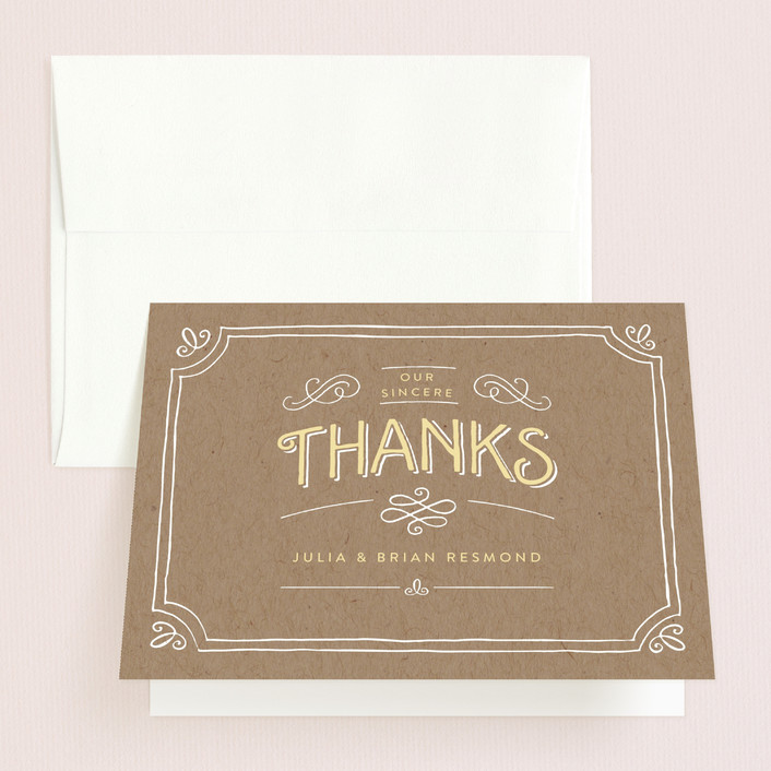 """Hand Delivered"" - Vintage, Hand Drawn Thank You Cards in Kraft by Jennifer Wick."