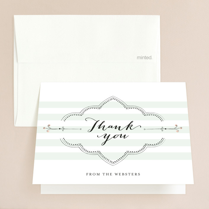 """""""Striped Sweet Nothings"""" - Vintage, Beach Thank You Cards in Romantic by Frooted Design."""