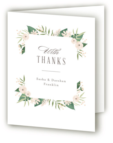 This is a botanical, green, orange Wedding Thank You Cards by Jennifer Wick called Classic peonies with Standard printing on Standard Cover in Card fold over (blank inside) format. Elegant typography paired with a frame of hand drawn peonies, ranunculus, ...