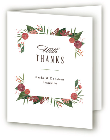 This is a botanical, green, red Wedding Thank You Cards by Jennifer Wick called Classic peonies with Standard printing on Standard Cover in Card fold over (blank inside) format. Elegant typography paired with a frame of hand drawn peonies, ranunculus, ...
