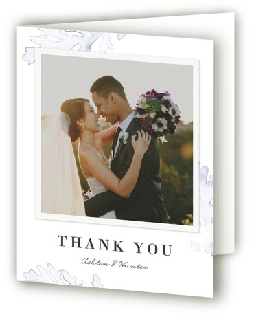 This is a botanical, rustic, purple Wedding Thank You Cards by Snow and Ivy called Evening Bloom with Standard printing on Standard Cover in Card fold over (blank inside) format. Original, bold, watercolor floral illustration with beautiful, elegant typography.
