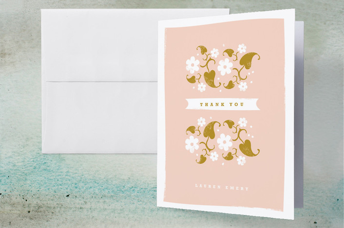 """""""Country Garden"""" - Floral & Botanical, Whimsical & Funny Thank You Cards in Tea Rose by Kristie Kern."""