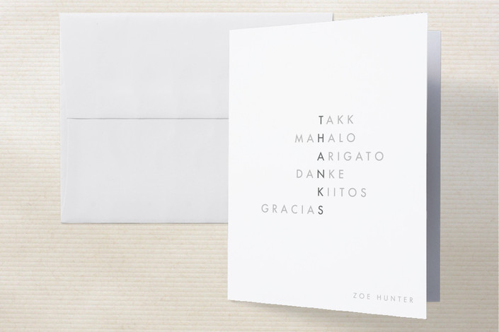 """Translate"" - Modern Thank You Cards in Grey by Kylie Holmes."