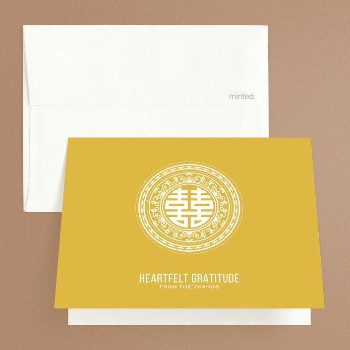 """""""Double Happiness Seal"""" - Modern Thank You Cards in Carmine by Guess What Design Studio."""