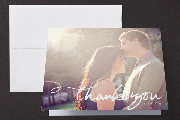 """""""Quickly Penned"""" - Hand Drawn, Modern Folded Thank You Card in Chalk by Laura Condouris."""