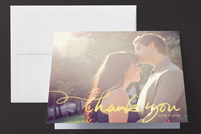 """Quickly Penned"" - Hand Drawn, Modern Thank You Cards in Chalk by Laura Condouris."