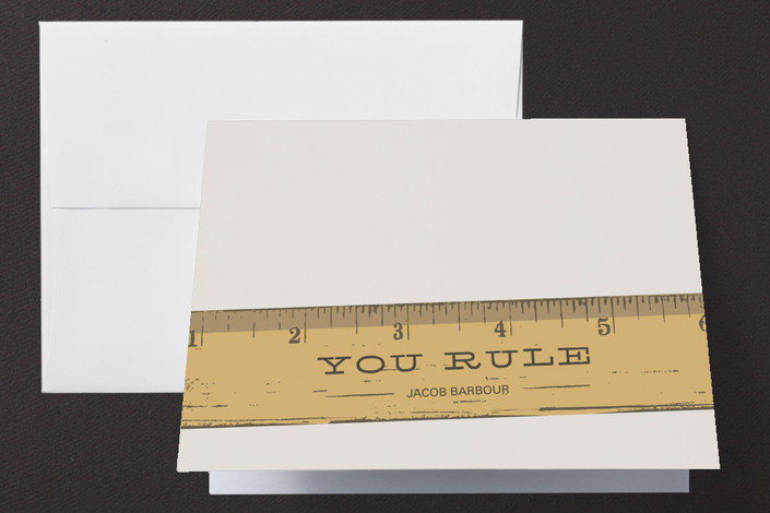 """""""You Rule"""" - Whimsical & Funny Thank You Cards in Warm Grey by Laura Condouris."""