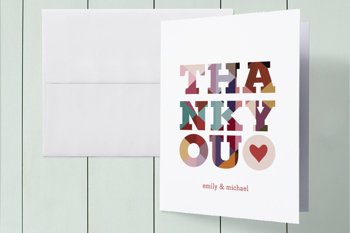 """""""Big Diamond Thank You"""" - Modern, Bold typographic Folded Thank You Card in Garnet by Laura McCarty."""
