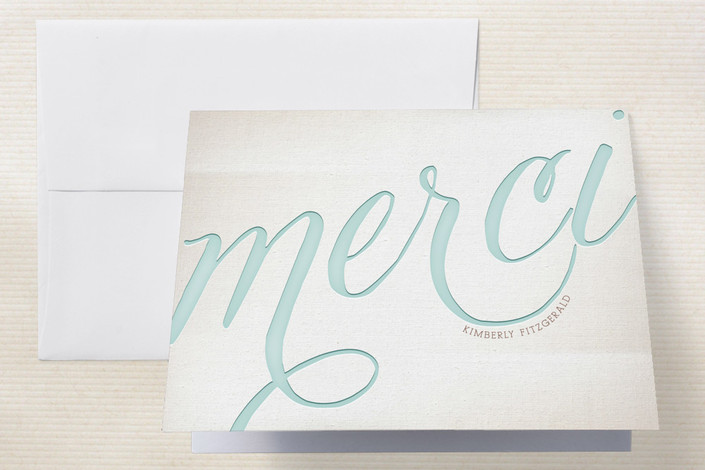 """French Flair"" - Classical, Formal Thank You Cards in Robin's Egg by Leslie Ann Jones."
