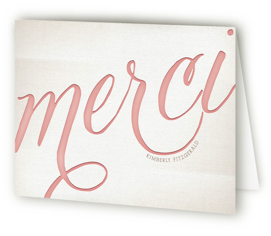 This is a landscape bold typographic, classical, formal, red Wedding Thank You Cards by Leslie Ann Jones called French Flair with Standard printing on Standard Cover in Card fold over (blank inside) format.