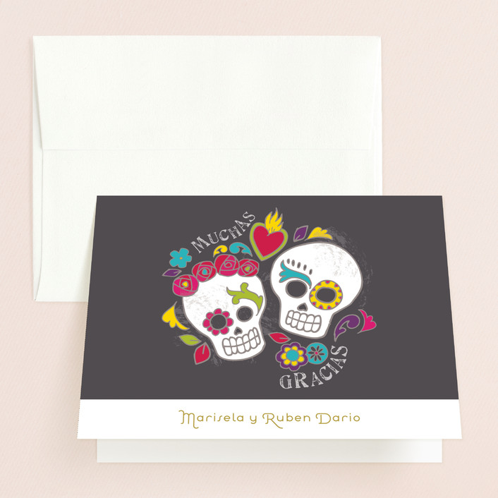 """""""Dia de los Muertos"""" - Whimsical & Funny, Modern Thank You Cards in Slate by Inky Livie."""